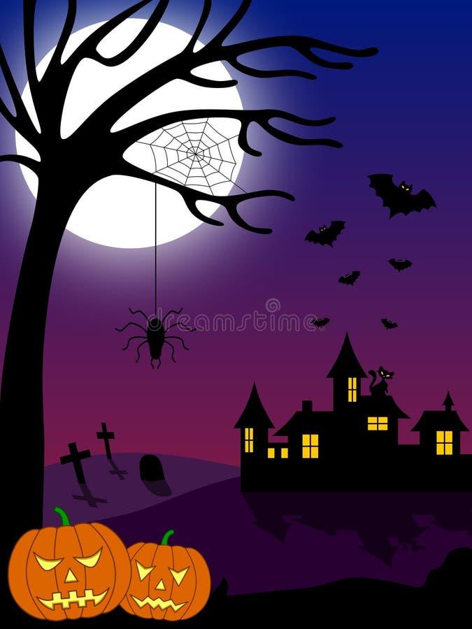 halloween för 2 stad plats stock illustrationer