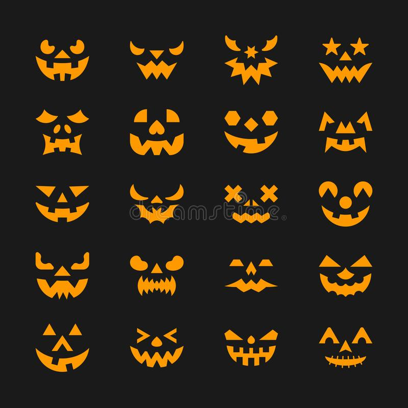 Halloween face set. Flat design symbol collection. Color logo concept for web, infographic, print, card, office, business style, baner, sticker, badge. Sign royalty free illustration