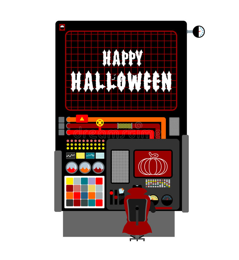 Halloween factory. device manufacturing scary pumpkin. Vegetable royalty free illustration