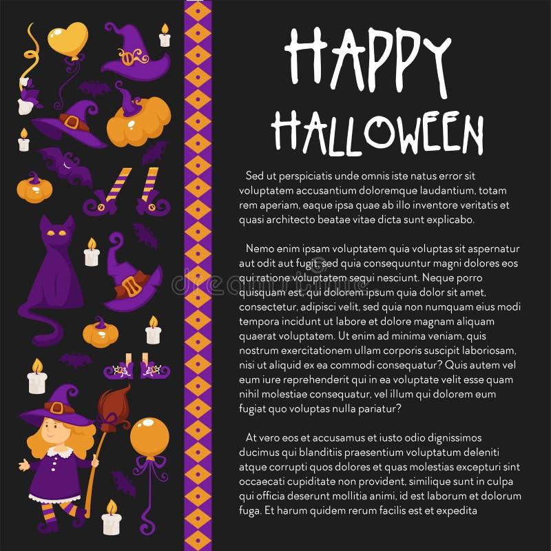 Halloween-Fahne mit Ikonen auf Halloween-Thema lizenzfreie abbildung