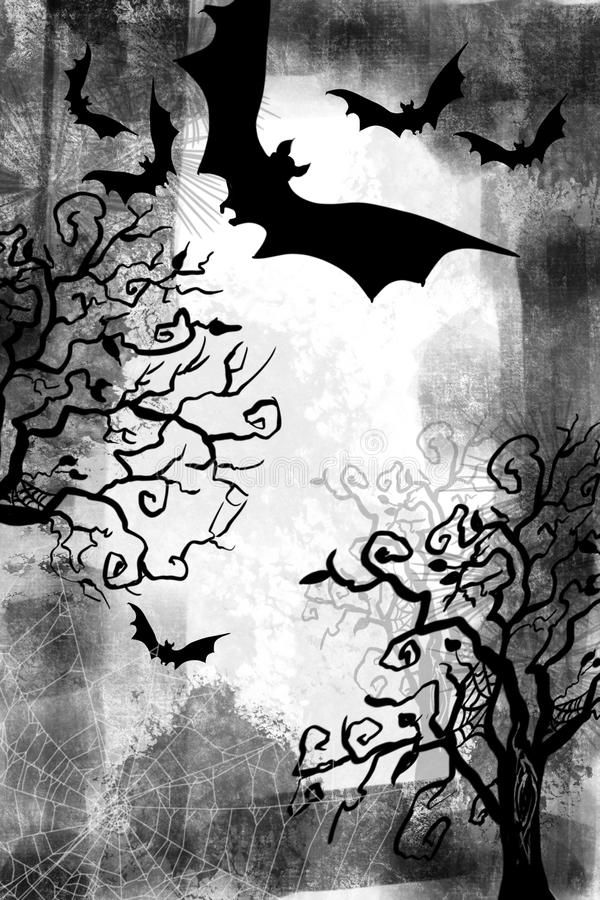 Halloween and fall scene of flying bats, creepy trees, and spooky spider webs grunge background and spooky tree. Layered effect of dimensional black and white vector illustration