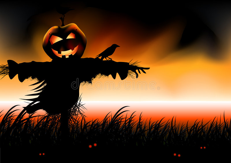 Halloween Falls. Pumpkin head scarecrow awaits. Vector illustration