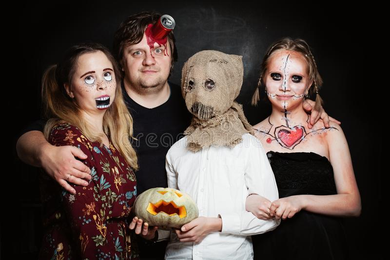 Halloween Family. Happy Father, Mother and Children Girl and Boy royalty free stock images