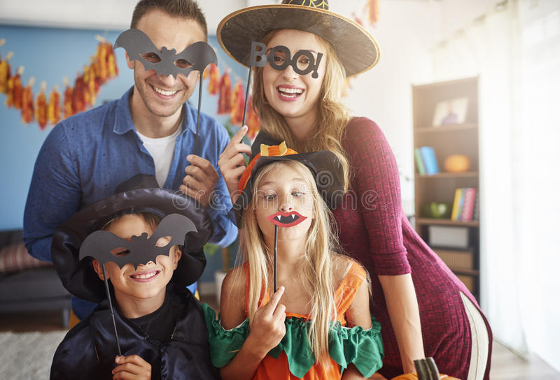 Halloween with family royalty free stock image