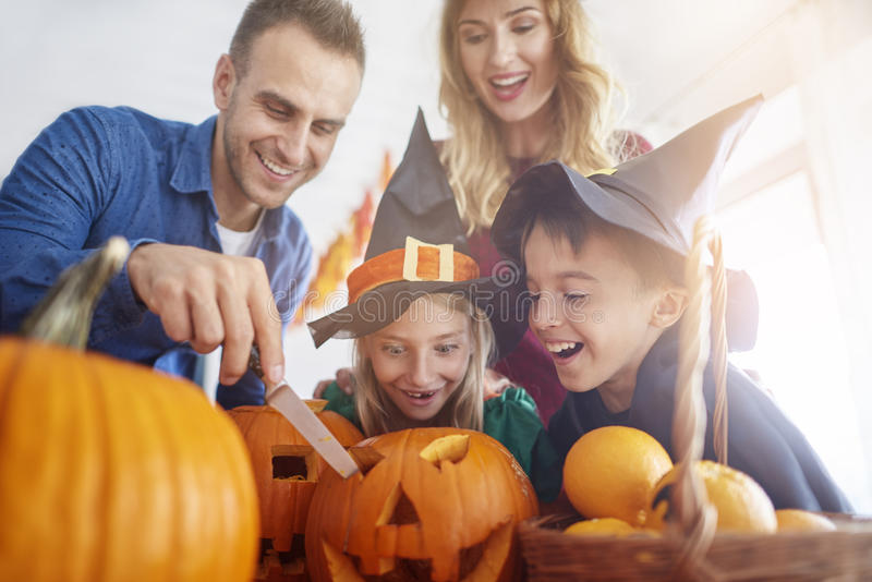 Halloween with family stock images