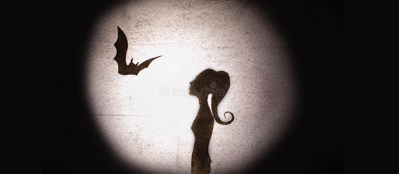 Halloween fantasy shadows. Silluete of Bat and Beauty woman on the moonlight background. Shadow theatre concept stock photography