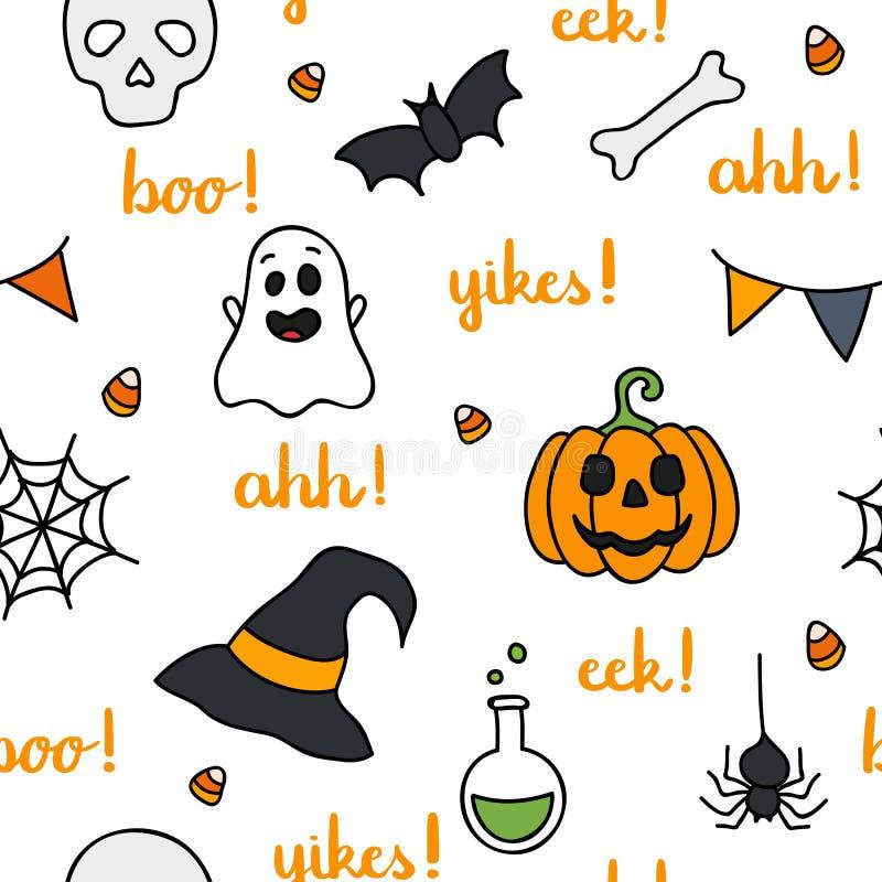 Halloween fasst Beschriftung und nahtloses Muster der Einzelteile ab stock abbildung