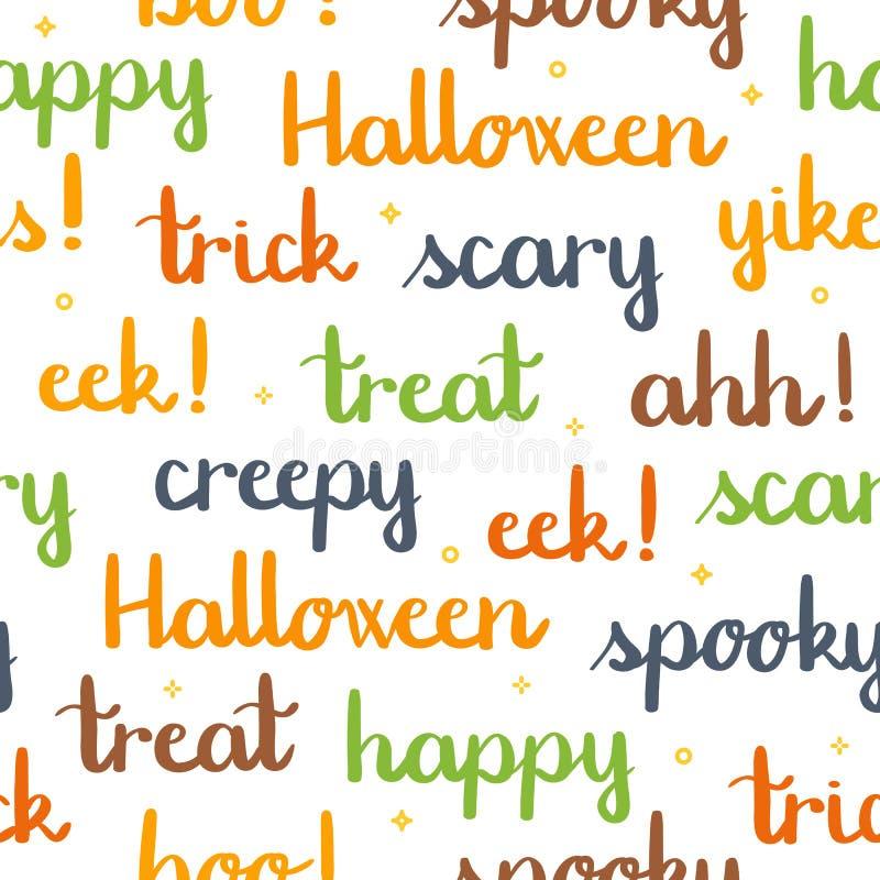 Halloween fasst das Beschriften des nahtlosen Musterweißhintergrundes ab lizenzfreie abbildung