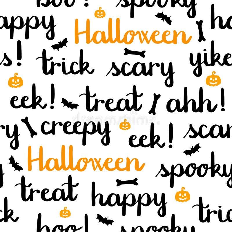Halloween fasst das Beschriften von weißen Hintergrundkürbisen des nahtlosen Musters ab stock abbildung