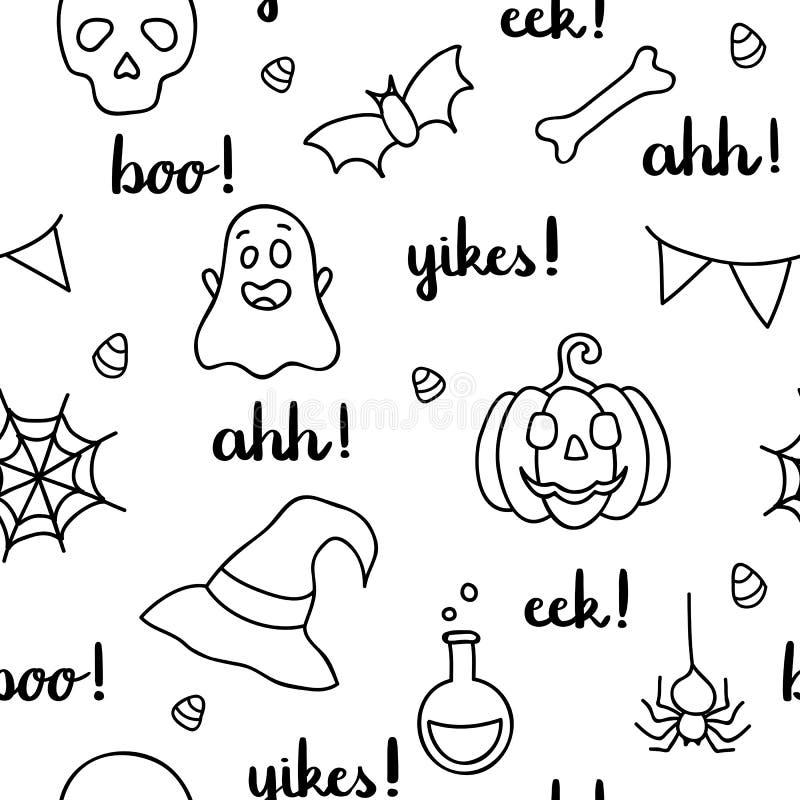 Halloween fasst schwarzen Entwurf der Beschriftung und der Einzelteile ab stock abbildung