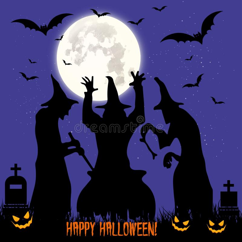 Halloween feast. Black three witches perform magic rite, boiled stock photography