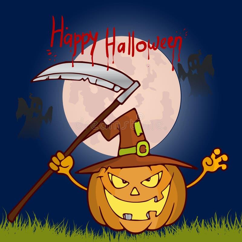 Download Halloween Feast Pumpkin With A Scythe In Hat Cartoon Illustr Stock Vector