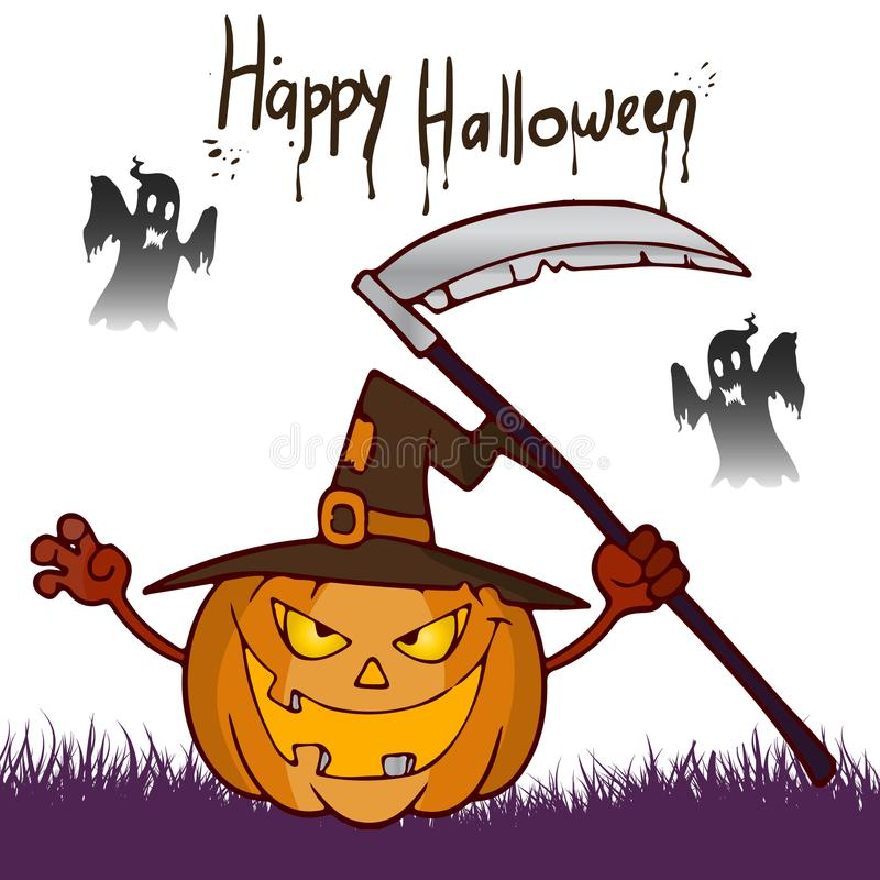 Download Halloween Feast Pumpkin With A Scythe In Hat Cartoon Stock Vector