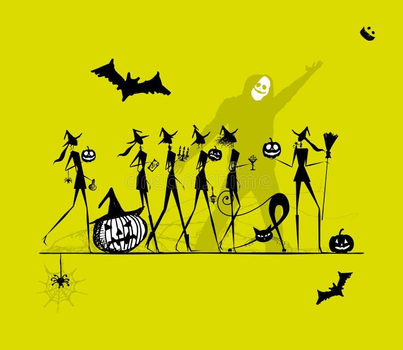 Halloween-Feiertag, junge Hexen für Ihr Design lizenzfreie abbildung