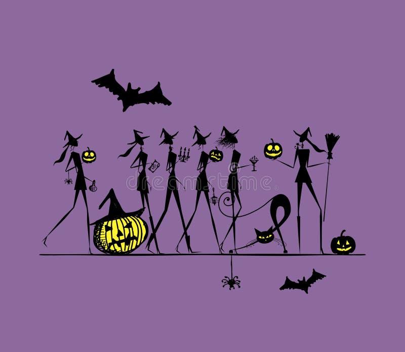 Halloween-Feiertag, junge Hexen für Ihr Design stock abbildung