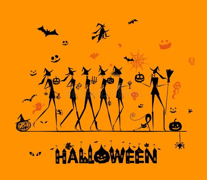 Halloween-Feiertag, junge Hexen für Ihr Design vektor abbildung