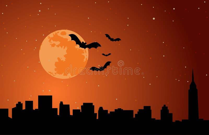 Halloween-Feiertags-Hintergrund-Mond-Skyline-Illustrations-Vektor lizenzfreie stockfotografie