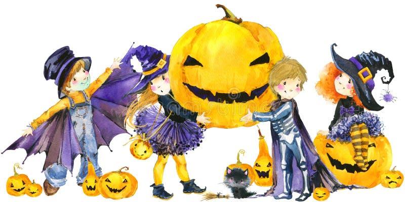 Halloween-Feiertagsfahne, Hexe des kleinen Mädchens, skeleton Junge, schwarze Katze, Vampirsjunge und Halloween-Kürbis vektor abbildung