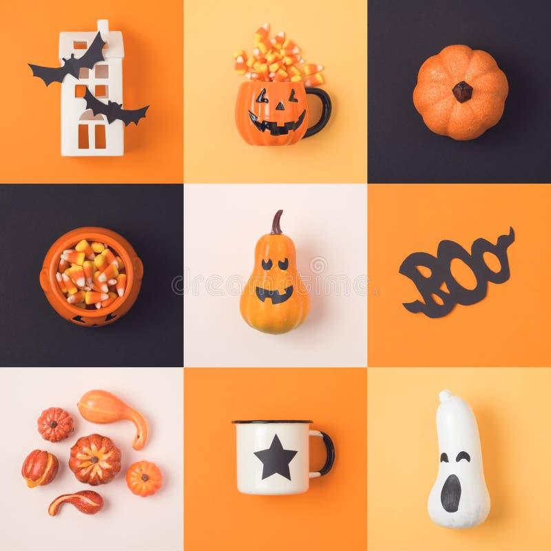 Halloween-Feiertagskonzept mit Laternenkürbis und -dekorum der Steckfassung O lizenzfreie stockfotografie
