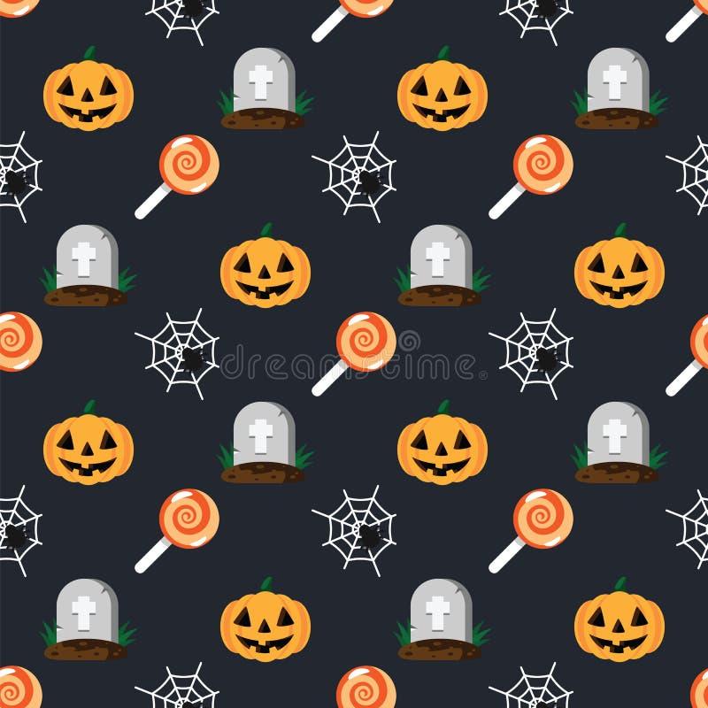 Halloween-Feiertagsmustergrab im Kirchhof, im orange Kürbis, in der Spinne und im Spinnennetz, süßer Süßigkeitslutscher, dunkler  stock abbildung