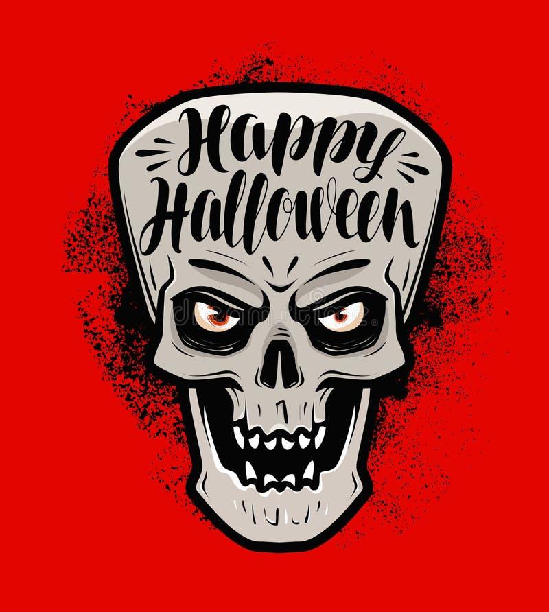 Halloween felice, cartolina d'auguri Cranio o mostro spaventoso Illustrazione di vettore dell'iscrizione royalty illustrazione gratis