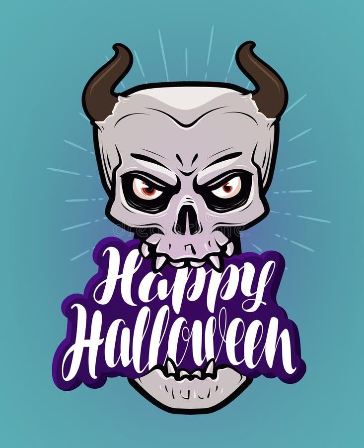 Halloween felice, cartolina d'auguri Mostro con i corni, diavolo, fumetto del demone Iscrizione scritta a mano, vettore di callig illustrazione vettoriale