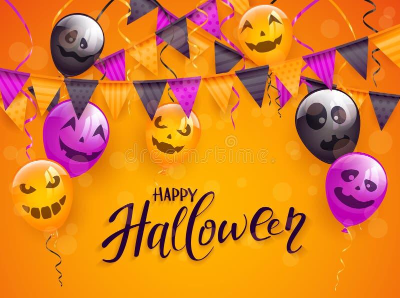 Halloween felice con i palloni e gli stendardi spaventosi su backg arancio illustrazione vettoriale