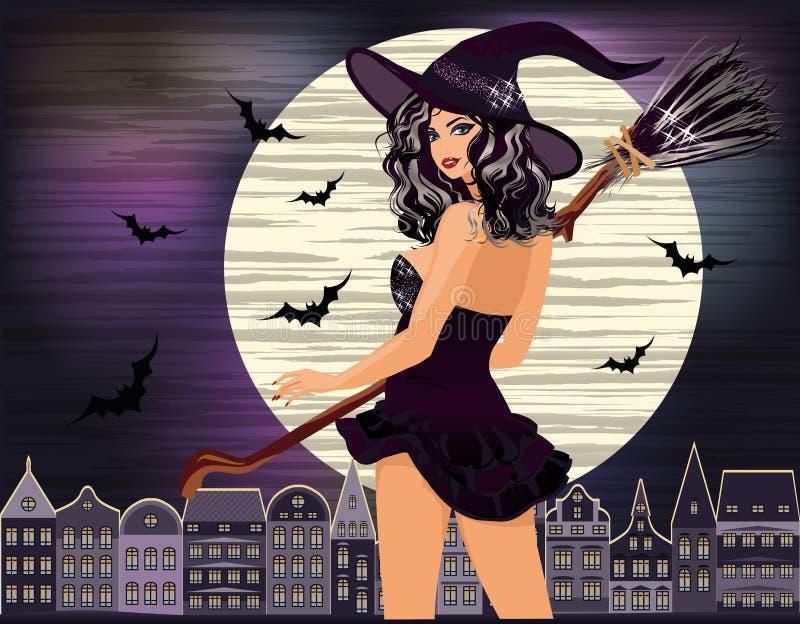 Halloween felice Giovane città sexy di notte della strega illustrazione vettoriale