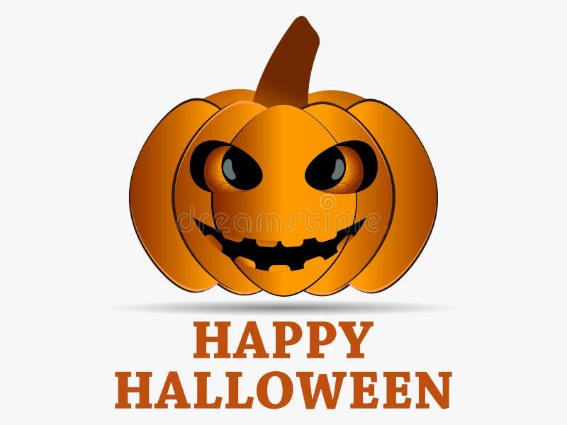 Halloween felice Icona della zucca con ombra isolata su fondo bianco Elemento di progettazione della cartolina d'auguri Vettore royalty illustrazione gratis