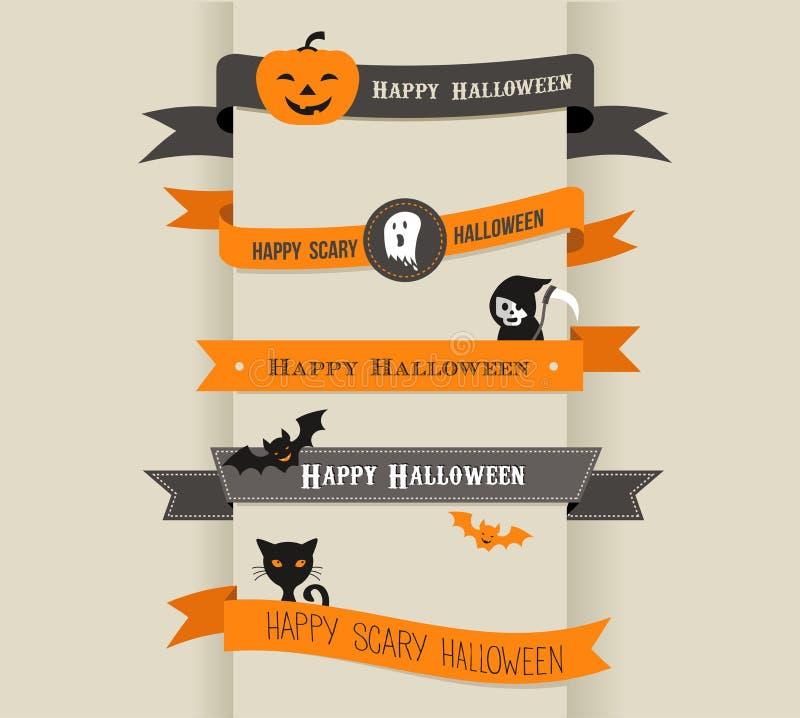 Halloween felice - insieme dei nastri e delle icone royalty illustrazione gratis