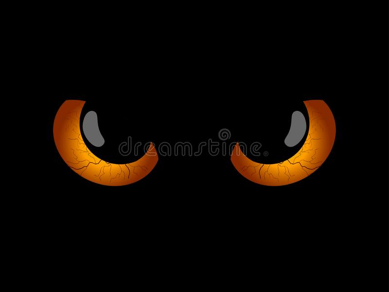 Halloween felice Occhi spaventosi diabolici, pupille nere Elemento di Halloween per progettazione Vettore illustrazione di stock