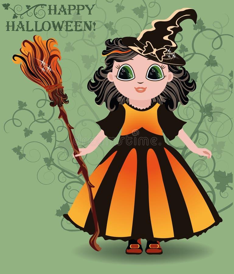 Halloween felice Piccola carta sveglia della strega illustrazione di stock