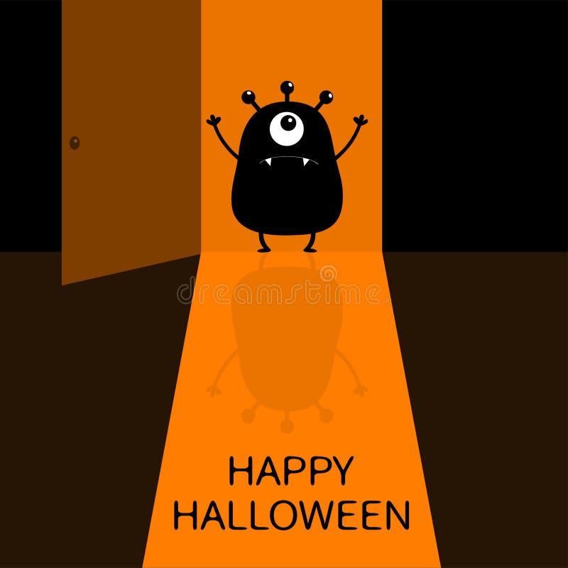 Halloween felice Siluetta di grido del mostro che sta alla entrata Un occhio, denti, mani spettrali Porta aperta con ombra Funn n illustrazione di stock