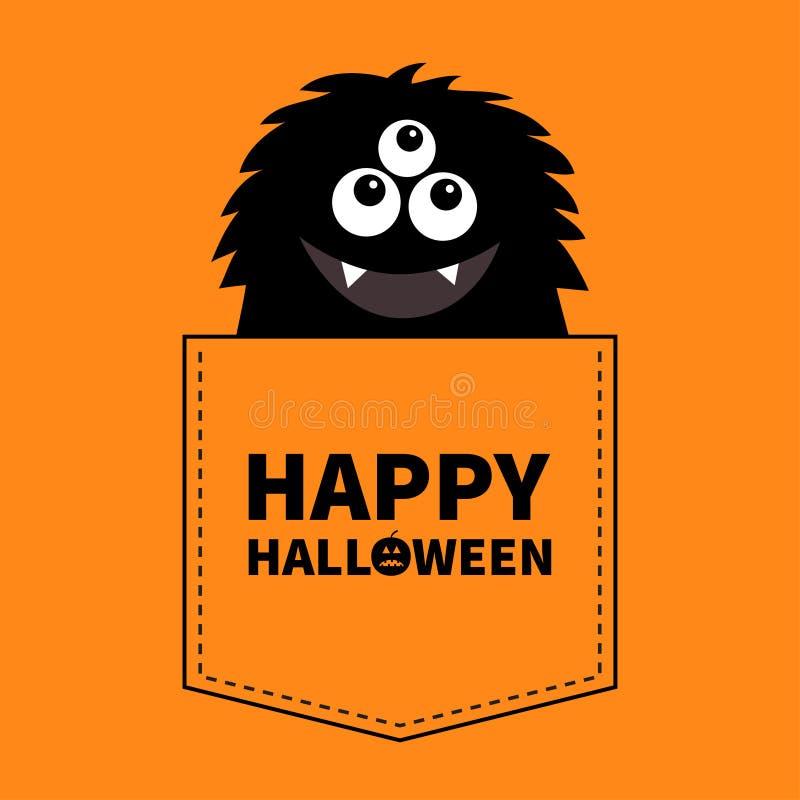 Halloween felice Siluetta nera lanuginosa del mostro nella tasca Mani in su Carattere divertente spaventoso del fumetto sveglio R royalty illustrazione gratis