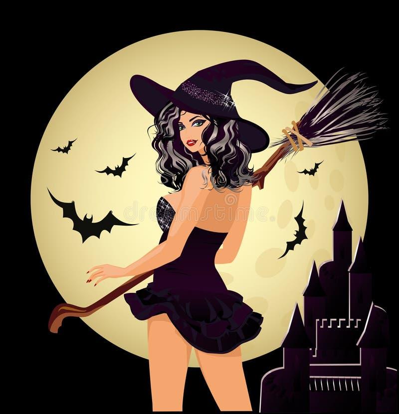 Halloween felice Strega e luna sexy illustrazione di stock