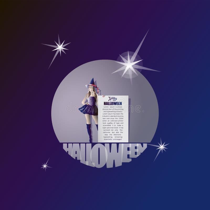 Halloween felice Strega e messaggio Insegna, manifesto, cartolina Progetti per le congratulazioni, inviti ad una sera festiva con royalty illustrazione gratis