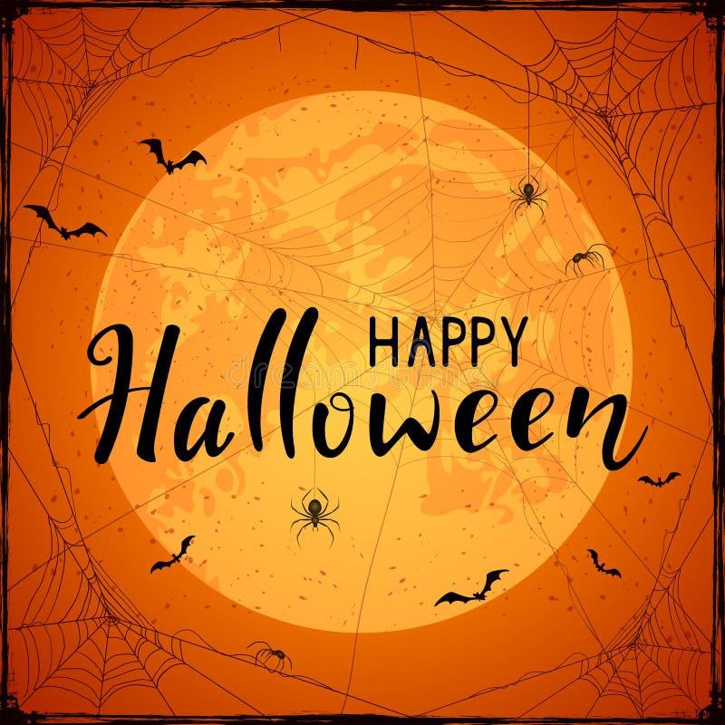 Halloween felice sul fondo arancio di lerciume con la luna ed il ragno illustrazione vettoriale