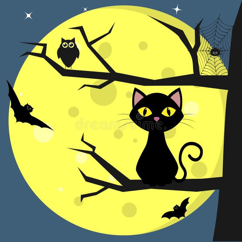 Halloween felice Un gatto nero si siede su un albero, contro un fondo di una luna piena alla notte Gufo, ragno, ragnatele royalty illustrazione gratis