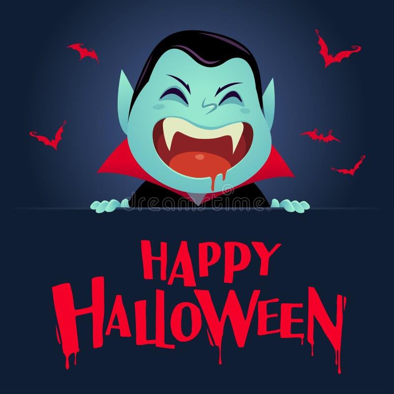 Halloween felice Vampiro di Dracula con la grande insegna Retro annata illustrazione vettoriale