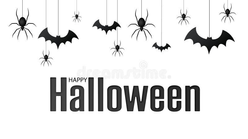 Halloween felice Vector il modello isolato con i ragni d'attaccatura e battuto il ragno per l'insegna, il manifesto, cartolina d' illustrazione di stock