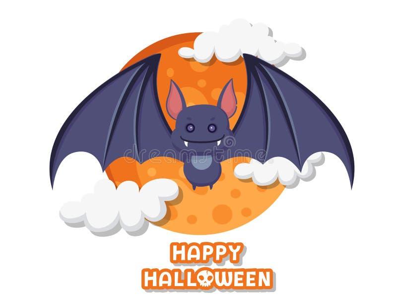 Halloween felice Vettore sveglio di volo del pipistrello del fumetto su fondo animale della foresta Progettazione piana Cartolina royalty illustrazione gratis