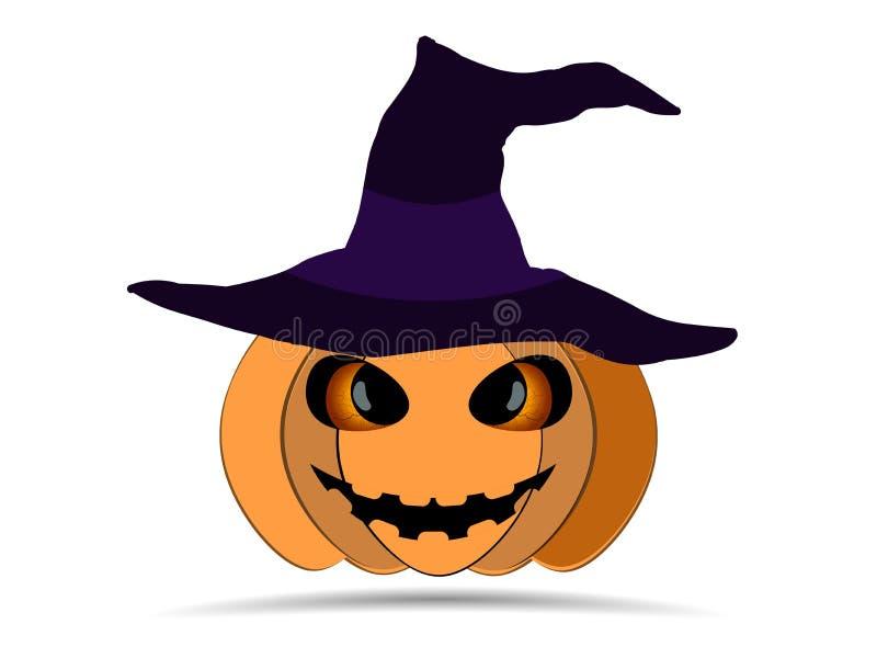 Halloween felice Zucca in cappello del ` s della strega isolato su fondo bianco Icona della lanterna di Jack o Vettore illustrazione di stock