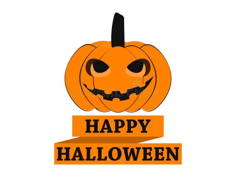 Halloween felice Zucca con il nastro, elemento di progettazione della cartolina d'auguri Vettore illustrazione di stock