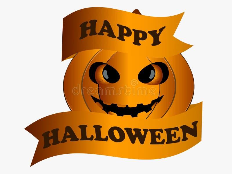 Halloween felice Zucca con il nastro, elemento di progettazione della cartolina d'auguri Vettore illustrazione vettoriale