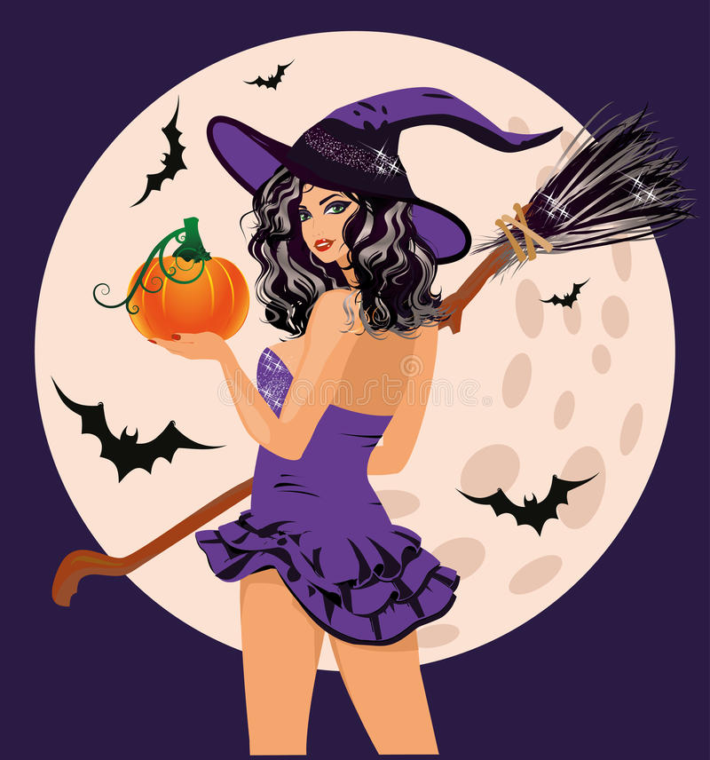 Halloween felice Zucca e luna sexy della strega illustrazione di stock