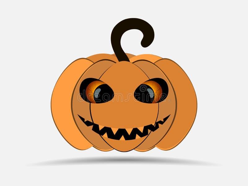 Halloween felice Zucca isolata su priorità bassa bianca Icona della lanterna di Jack o Vettore royalty illustrazione gratis
