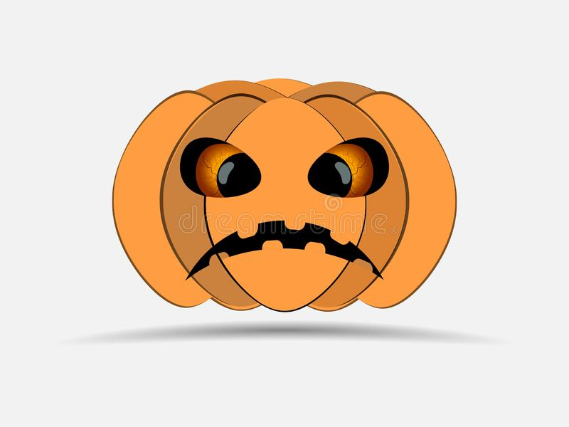 Halloween felice Zucca isolata su priorità bassa bianca Icona della lanterna di Jack o Vettore illustrazione di stock