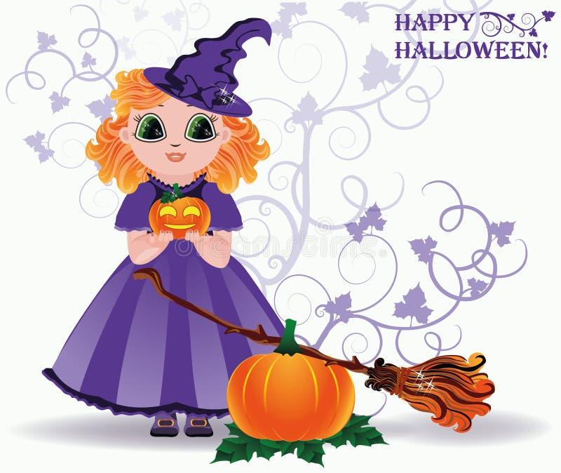 Halloween feliz Cartão pequeno bonito da bruxa e da abóbora foto de stock