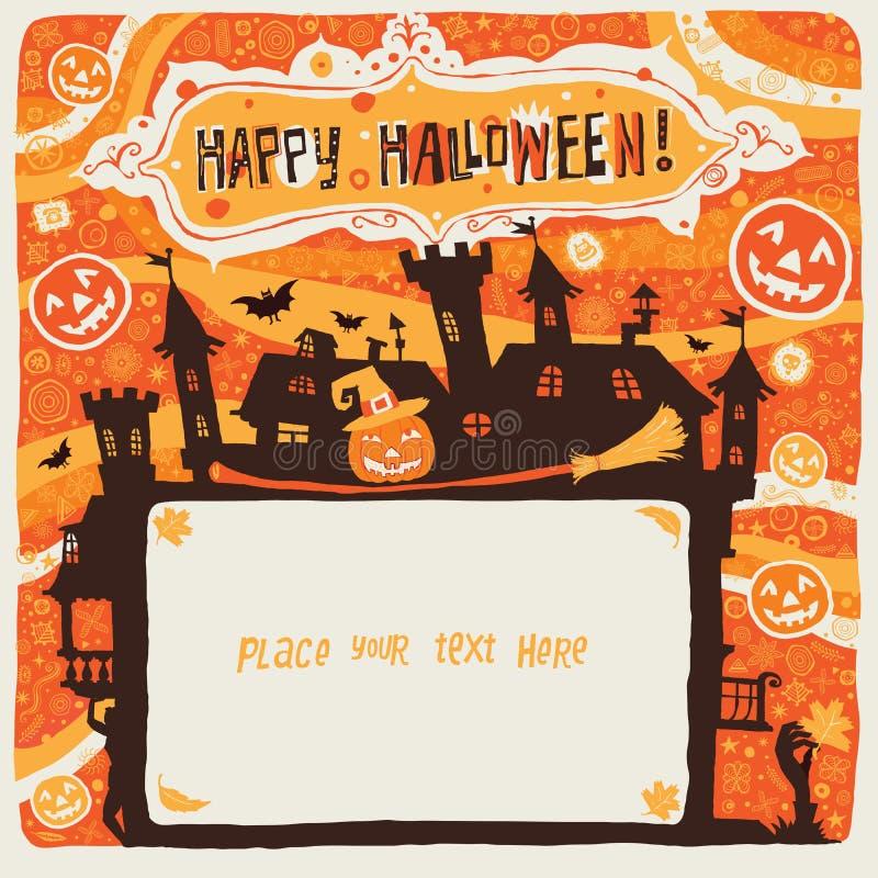 Halloween feliz Cartaz, cartão ou fundo de Dia das Bruxas para o convite do partido de Dia das Bruxas ilustração do vetor