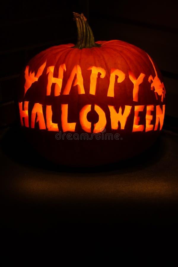 Halloween feliz cinzelou a abóbora fotografia de stock